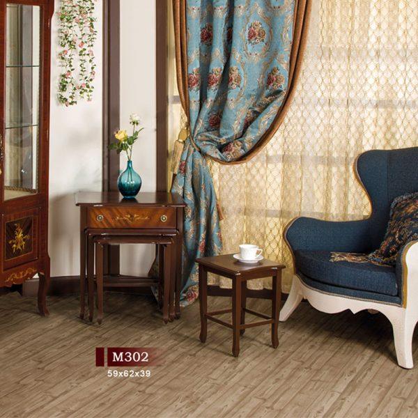 میز عسلی چهار پارچه کشو دار مدل M۳۰۲,میز عسلی,میز عسلی کشویی,میز عسلی چهار پارچه,میز عسلی معرق,میز عسلی کشو دار,میز پذیرایی,میز عسلی چوبی